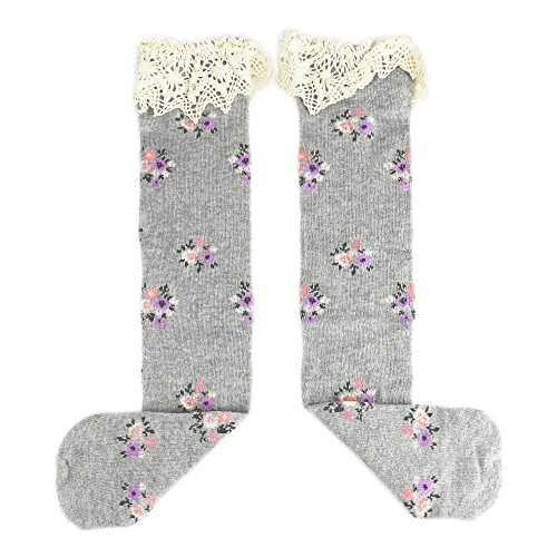 eonkoo Kids Baby Girl's Cotton Flower Knee Princess Floral Lace Trim Long Tube High Socks (light (Powerpuff Girls Sexy)