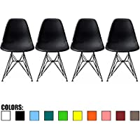 2xhome - Set of Four (4) - Black - Eames Style Side Chair Black Eiffel Base Dining Room Chair - Lounge Chair No Arm Arms Armless Less Chairs Seats Black Wire Legs