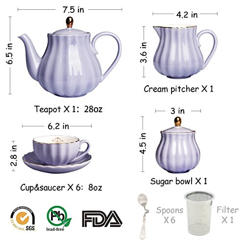 Porcelain Tea Sets British Royal Series, 8 OZ Cups& Saucer Service for 6, with Teapot Sugar Bowl Cream Pitcher Teaspoons and tea strainer for Tea/Coffee, Pukka Home (Milk Purple) by Pukka Home (Image #2)