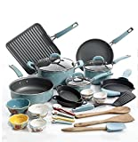 Premium Cookware Set Nonstick 10 Piece, Specially Pre-Seasoned for Kitchen, Turquoise, Food Network Featured