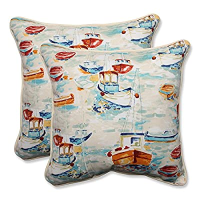 "Pillow Perfect Outdoor/Indoor Spinnaker Bay Sailor Throw Pillow (Set of 2), 18.5"" - Includes two (2) outdoor pillows, resists weather and fading in sunlight; Suitable for indoor and outdoor use Plush Fill - 100-percent polyester fiber filling Edges of outdoor pillows are trimmed with matching fabric and cord to sit perfectly on your outdoor patio furniture - patio, outdoor-throw-pillows, outdoor-decor - 518e N5c2cL. SS400  -"