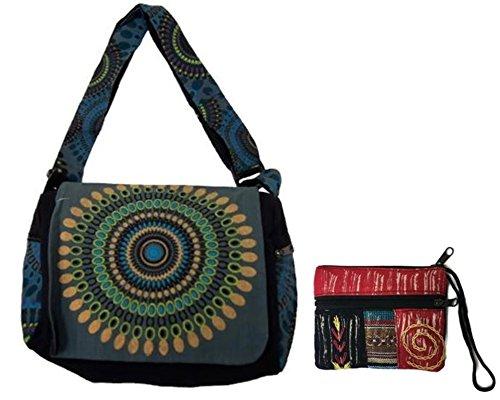 (Canvas Cotton Sling Boho Cross Body Shoulder Bag & Coin/Money Purse Bundle Nepal – Circle Geometric Design (Blue))