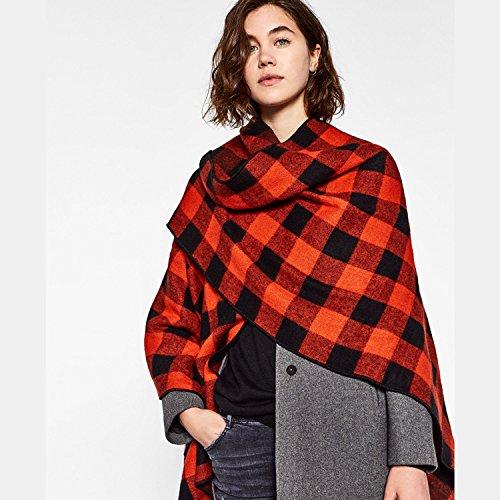 Hommes Et Les Femmes Plaid imitation Cachemire hiver chaud épais Châle Châle ( couleur : Rouge )