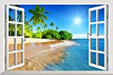 wall26 White Beach with Blue Sea and Palm Tree Open Window Mural Wall Decal Sticker - 36''x48''