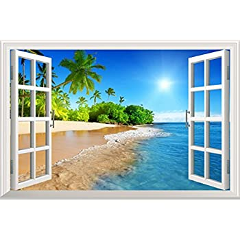 Wall26 White Beach With Blue Sea And Palm Tree Open Window Mural Wall Decal  Sticker