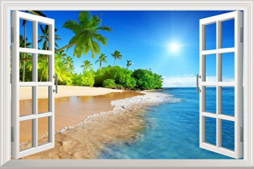 Wall26 White Beach with Blue Sea and Palm Tree Open Window Mural Wall Decal Sticker – 36″x48″