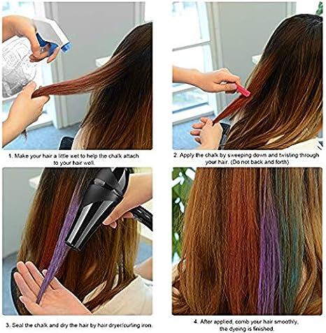 Ettzlo - Peine de tiza para el pelo, color lavable para niñas ...