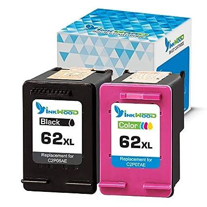 Inkwood - Cartuchos de Tinta remanufacturados (62 XL, 2 Unidades, HP 62XL, Color Negro y HP62XL, Compatible con HP Envy 5540, 5640, 7640, 5646, 5546, ...