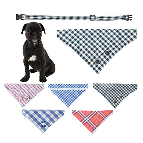 Ihoming Pet Bandana Classic Scarf Neckerchief with Durable and Soft PU Collar for Dogs Cats and Small Animals, Gingham, Black, Medium