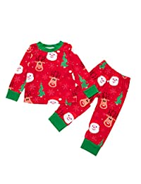 Bebogo Infant Boys Girls Christmas Reindeer Santa Claus Outfits Long Sleeves Pajamas