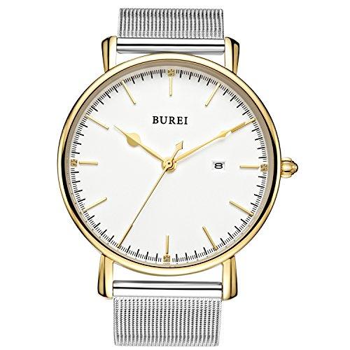 BUREI Unisex Date Stainless Steel Quartz Watch Gold Tone Bezel and Big Round Face with Zircon Crystal