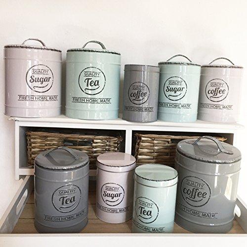Barattoli per la cucina in 3colori e 3 misure, barattoli di latta, contenitori per caffè, tè, barattoli vintage, Beige, gross, Coffee contenitori per caffè tè Frida' s Landleben