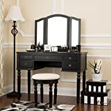 Makeup Vanity Table with Drawers Fineboard Dressing Set with Stool, Beauty Station Makeup Table, Three Mirror Vanity Set, 5 Organization Drawers (Black)
