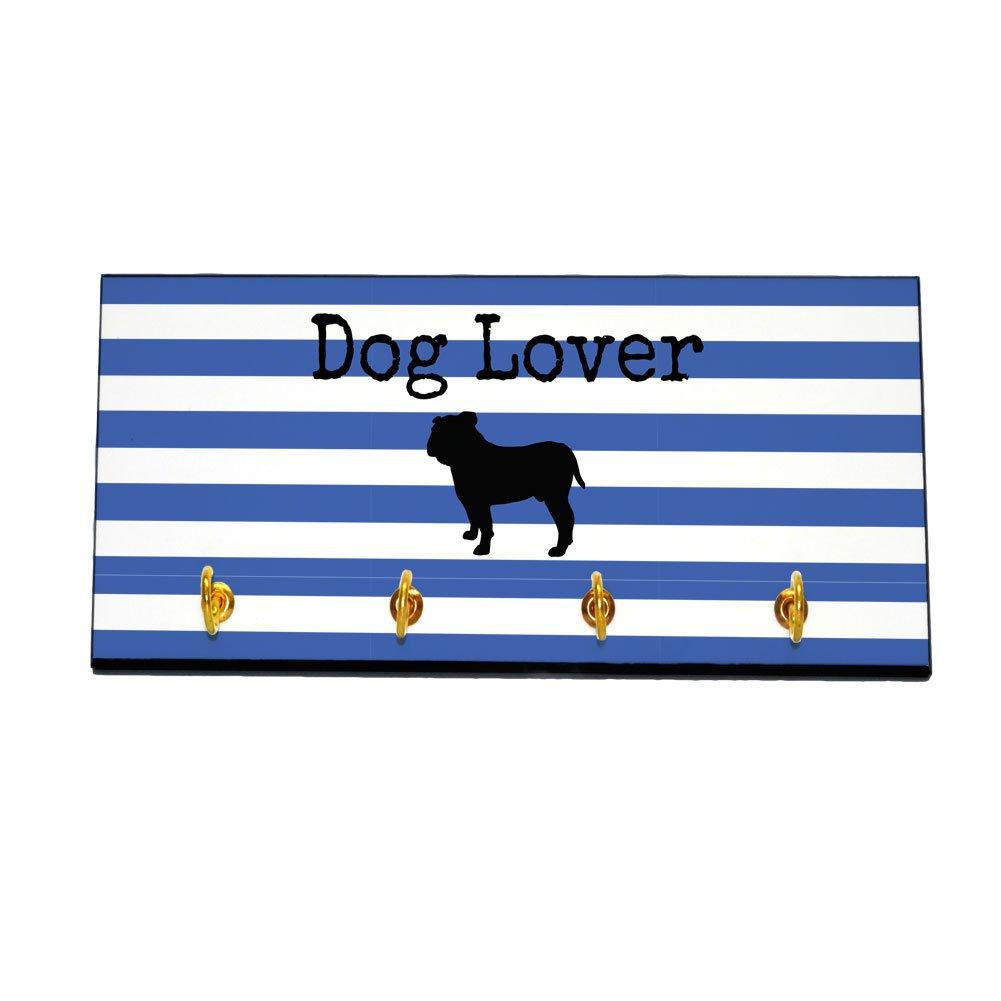 Striped Dog Lover Key and Leash Hanger - Bulldog (Color=Blue)