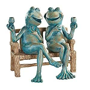 Amazon Com Happy Hour Frogs Garden Statue Garden Amp Outdoor