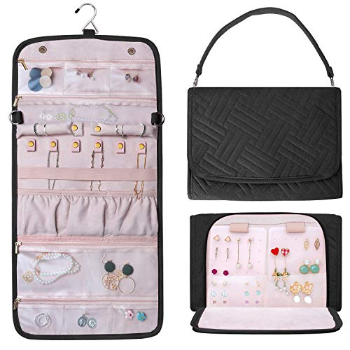 Refrze Hanging Jewelry Organizer Roll, Travel Jewelry Organizer, Foldable Jewelry Bag Case, Jewelry Storage Bag Organizer for Journey-Rings, Necklaces, Earrings, Compact and Easy to Carry Large Black