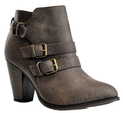 Women's Chunky Block Heel Booties Buckle Strap Fashion Shoes Dress Ankle Boots Brown 9