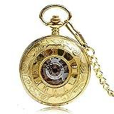 Golden Antique Pocket Watch, Steampunk Hand Winding Mechanical Pocket Watch, Gift for Men