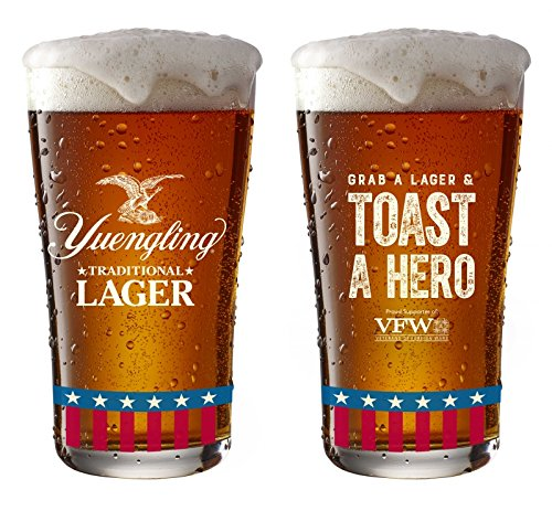 Yuengling Traditional Lager Beer Pint Glasses USA Veterans - Set of 2 Tumblers