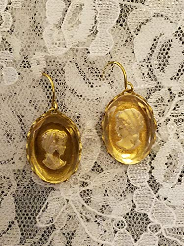 Vintage Intaglio White Grecian Lady Earrings