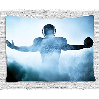 Ambesonne Sport Tapestry, Heroic Shaped Rugby Player Silhouette Shadow Standing in Fog Playground Global Sports Photo, Wide Wall Hanging for Bedroom Living Room Dorm, 60