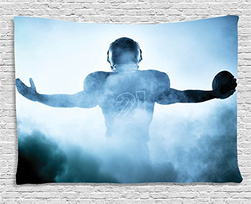 - Ambesonne Sport Tapestry, Heroic Shaped Rugby Player Silhouette Shadow Standing in Fog Playground Global Sports Photo, Wide Wall Hanging for Bedroom Living Room Dorm, 80