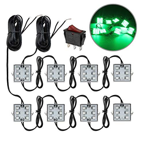 Partsam Truck Bed Light Ultra Bright Exterior Rear Work Box Trunk Green LED Lighting Kit 8pods 48LED Waterproof Cargo Pickup Trunk Light for Dodge Ram Ford GMC