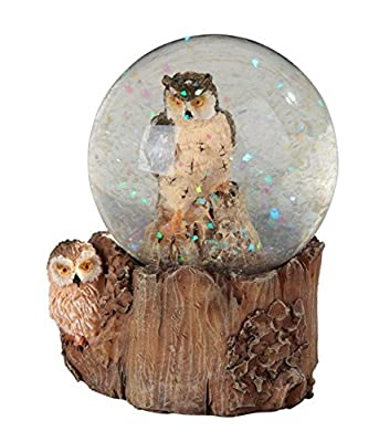 StealStreet SS-G-28061 Brown and Cream Owl Snow Globe with Tree Stump Stand Collectible