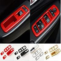 FMtoppeak Red ABS Interior Window Switch Button Panel Frame Trim Cover for 2014-2016 Jeep Cherokee