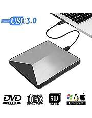 M.Way Lecteur CD DVD Externe, Graveur DVD/CD Externe d'Alliage d'Aluminium USB3.0 Ultra-Mince Portable, External Drives Réduction Compatible Windows XP, Macbook, iMac OS, Windows 7/8/10, Vista 7, etc