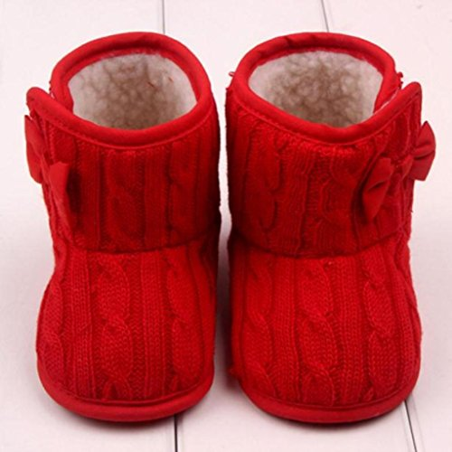 ❆HUHU833 Kinder Mode Baby Stiefel, Bowknot Soft Sole Warm Schnee Stiefel, Kleinkind Stiefel Warm Schuhe (3-12 months( Rot