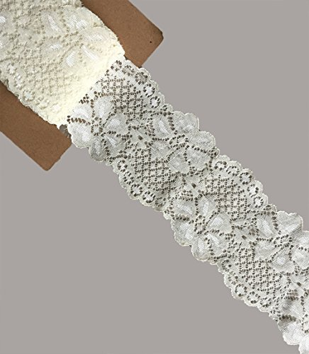 LACE REALM 2.5″×10 Yards Stretch Floral Pattern Lace Ribbon Trim Lace for Headbands Garters Decorating Floral Designing & Crafts (Ivory)