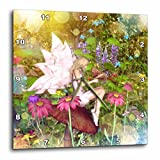 3dRose dpp_19392_1 Magical Fairy with Butterfly Friends Wall Clock, 10 by 10-Inch For Sale