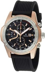 Bulova Men's 98E109 Diamond Case Black Dial Watch
