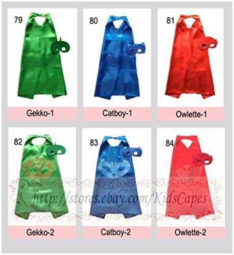 [New PJ Mask - Cape and Mask Set PJ Mask Costume kids birthday party favor Logo cape Catboy with] (Egyptian Woman Costume Uk)