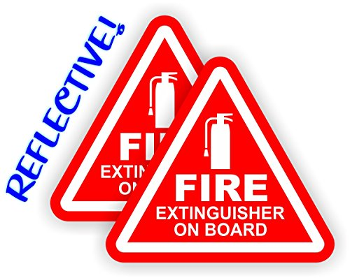 (2x) REFLECTIVE 2-inch Fire Extinguisher on Board Vinyl Decals | Jeep Stickers | 4x4 Labels Pair