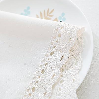 Mantel Moresave de algodón blanco de lino, con puntilla. , algodón, As Picture Show, 23.62