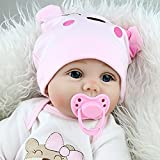 Real Life Reborn Baby Dolls Girl Silicone Cotton Body Pink Outfit 22 Inches