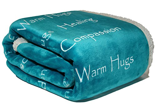 Compassion Blanket - Breast Cancer Support Blanket Get Well Support for Women Men by Wolf Creek Blanket | Warm Hugs Healing Thoughts Positive Energy Courage Soft Fluffy Caring Throw-Teal (50