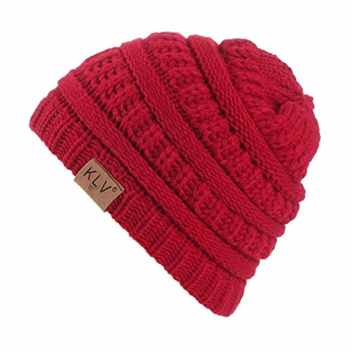 Beanie Red Kids (Elaco Beanie Skull Slouchy Caps, Boy Girls Warm Crochet Winter Wool Knit Ski Hat (Wine Red))