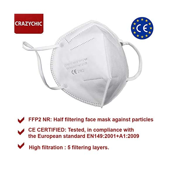 CRAZYCHIC-Atemschutzmaske-FFP2-CE-Zertifiziert-EN-149-Schutzmaske-Mundschutzmaske-Staubschutzmaske-Hohe-Filtration-Maske-100-Stck