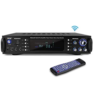 Pyle 4-Channel Bluetooth Home Power Amplifier - 2000 Watt Audio Stereo Receiver w/ Speaker Selector, AM FM Radio, USB/ SD Card Reader, Karaoke Microphone Input - Home Entertainment System