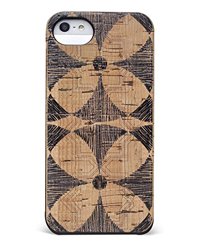 Wood Case Compatible with iPhone SE   5   5s - Eco-Friendly Cork Wood Fashion Case - Natural Wooden Design with Stylish Flower Printed Overlay (Flower) (Wood Tree Iphone 5 Case)
