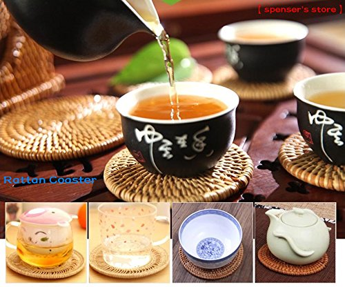 Hand-woven Rattan Coasters Round Heat Resistant Tablemat Reusable Nonslip Placemat Rustic Style Coffee Tea Bowl Cup Insulation Pad, Exotic Handmade Teacup Coasters, Creative Gift, Set of 6 (4 Inch)