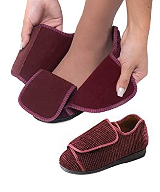 Womens Extra Extra Wide Width Adjustable Slippers - VELCRO® brand Diabetic & - Burgundy 10