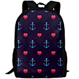 Mwsgs90 Laptop Backpack Anchor PatternSeamless Love Wedding Computer Bag College School Backpack Unisex