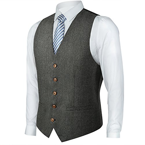 Zicac Men's Unique Advanced Custom Tweed Vest Skinny Wedding Dress Vest (XL, Herringbone Gray)