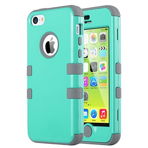 iPhone 5C Case, iPhone5C Case, ULAK Shockproof Hybrid Heavy Duty Dual Layer High Impact Protection Case Cover for Apple iPhone Apple iPhone 5C-Mint + Grey
