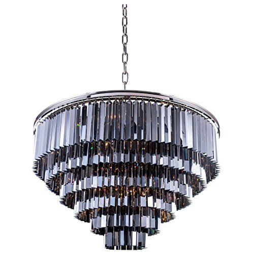 - Elegant Lighting Sydney Collection 33-Light Pendant Lamp with Royal Cut Silver Shade Crystals, Polished Nickel Finish