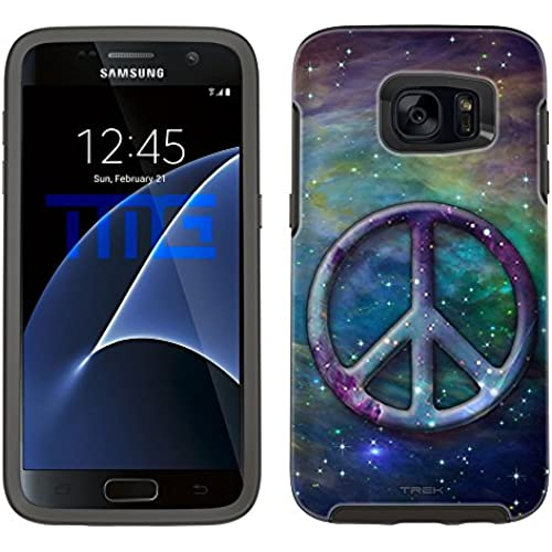 Skin Decal for Otterbox Symmetry Samsung Galaxy S7 Edge Case - Peace on Nebula Blue Green Sales